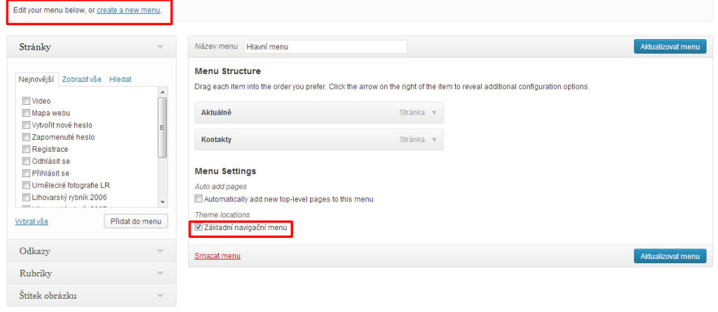 wordpress 3.6 - menu